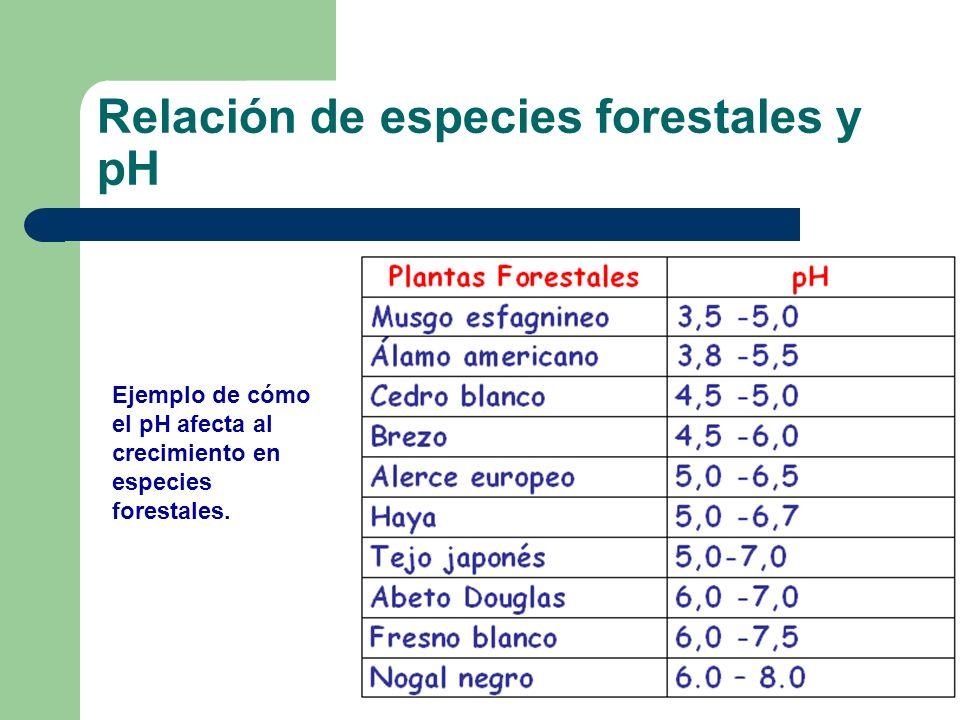 Ejemplo de cómo el pH afecta al crecimiento en especies forestales. Relación de especies forestales y pH