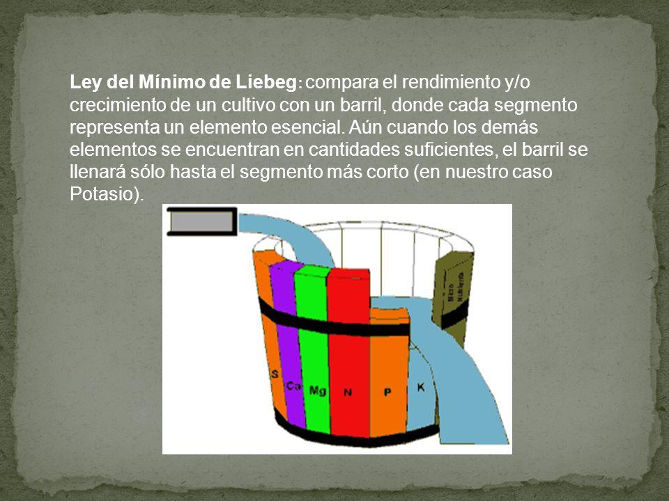 Ley del Mínimo de Liebeg : compara el rendimiento y/o crecimiento de un cultivo con un barril, donde cada segmento representa un elemento esencial. Aú