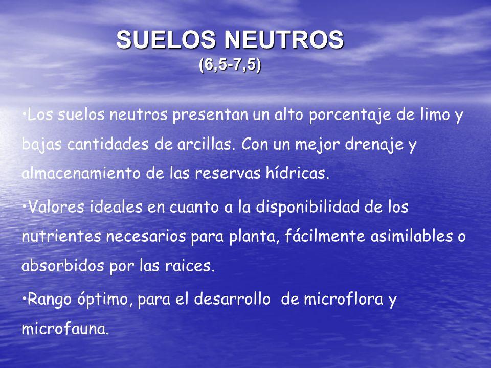 SUELOS NEUTROS (6,5-7,5) Los suelos neutros presentan un alto porcentaje de limo y bajas cantidades de arcillas. Con un mejor drenaje y almacenamiento