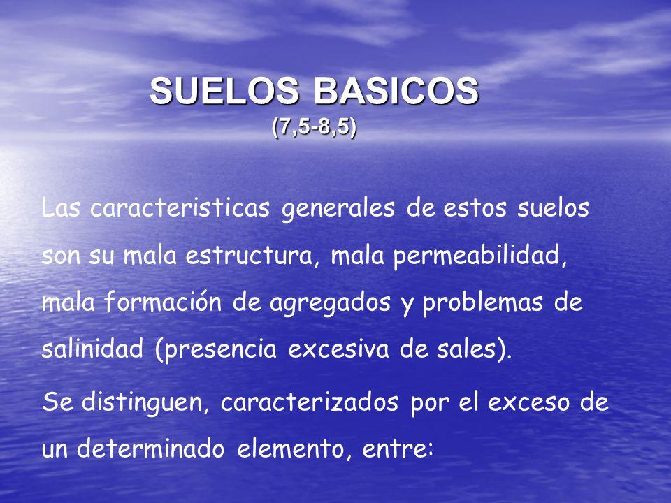 SUELOS BASICOS (7,5-8,5) Las caracteristicas generales de estos suelos son su mala estructura, mala permeabilidad, mala formación de agregados y probl