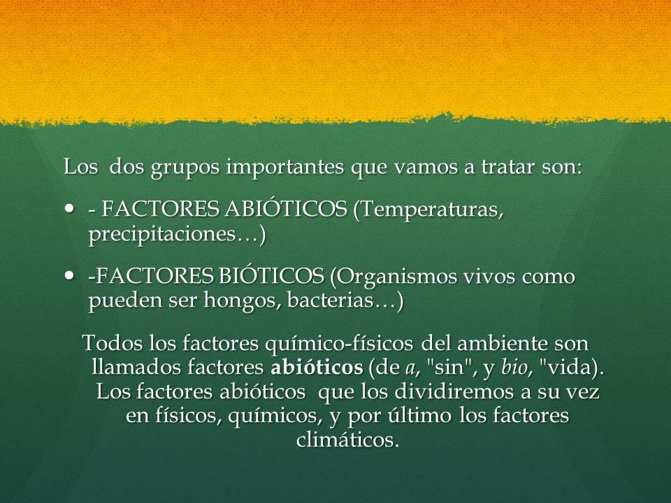Los dos grupos importantes que vamos a tratar son: - FACTORES ABIÓTICOS (Temperaturas, precipitaciones…) - FACTORES ABIÓTICOS (Temperaturas, precipita