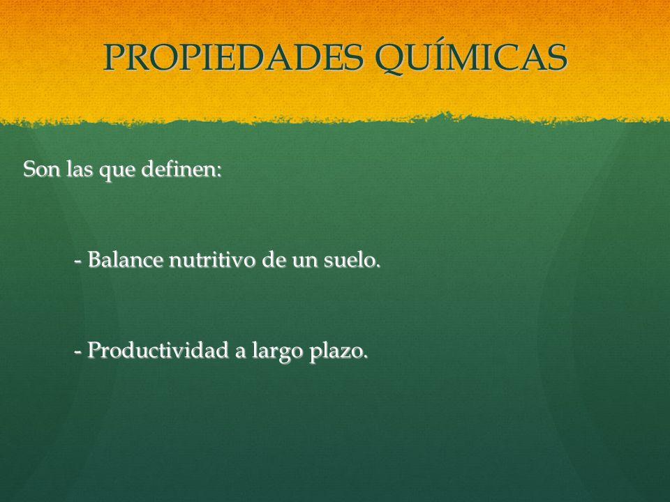 PROPIEDADES QUÍMICAS Son las que definen: Son las que definen: - Balance nutritivo de un suelo. - Productividad a largo plazo.