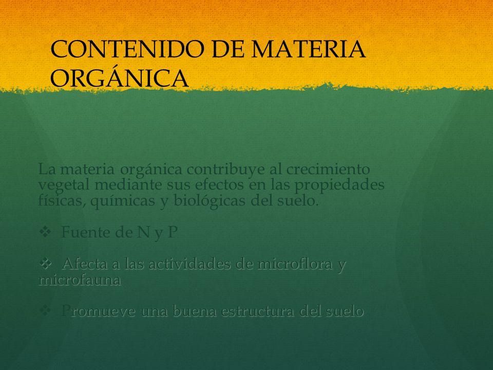 CONTENIDO DE MATERIA ORGÁNICA La materia orgánica contribuye al crecimiento vegetal mediante sus efectos en las propiedades físicas, químicas y biológ