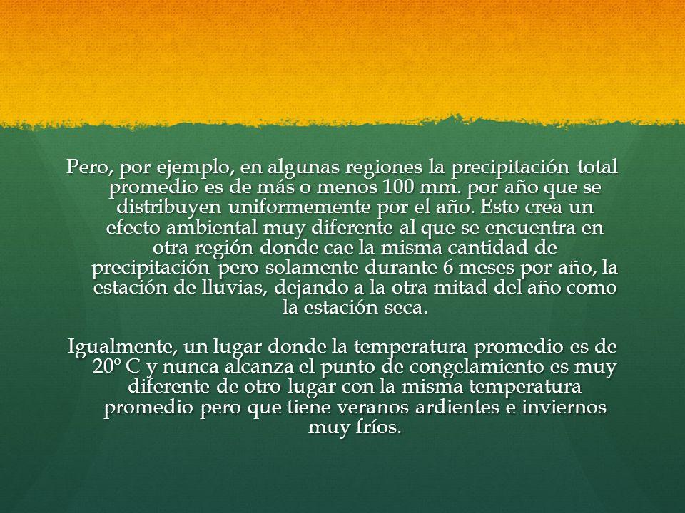 Pero, por ejemplo, en algunas regiones la precipitación total promedio es de más o menos 100 mm. por año que se distribuyen uniformemente por el año.