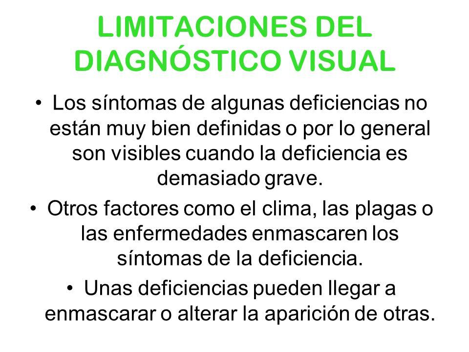 LIMITACIONES DEL DIAGNÓSTICO VISUAL Los síntomas de algunas deficiencias no están muy bien definidas o por lo general son visibles cuando la deficienc