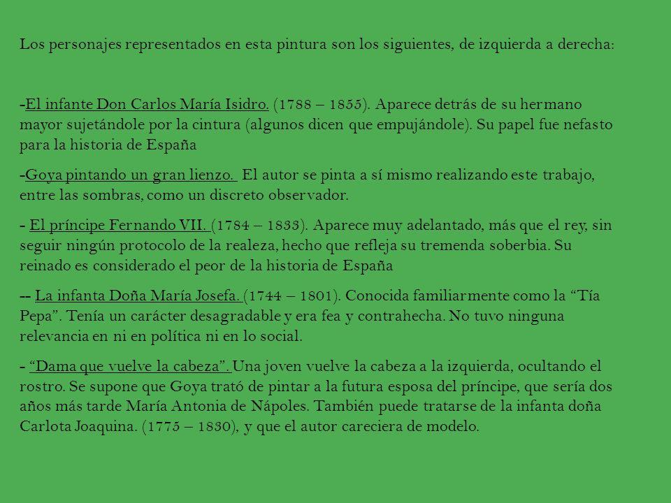 -Infanta Doña María Isabel.(1789 – 1848). Cuentan que era una mujer apasionada e inteligente.