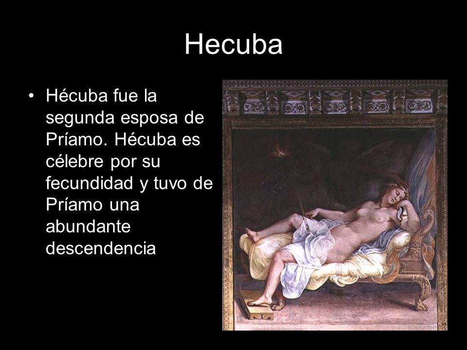 Hecuba Hécuba fue la segunda esposa de Príamo. Hécuba es célebre por su fecundidad y tuvo de Príamo una abundante descendencia