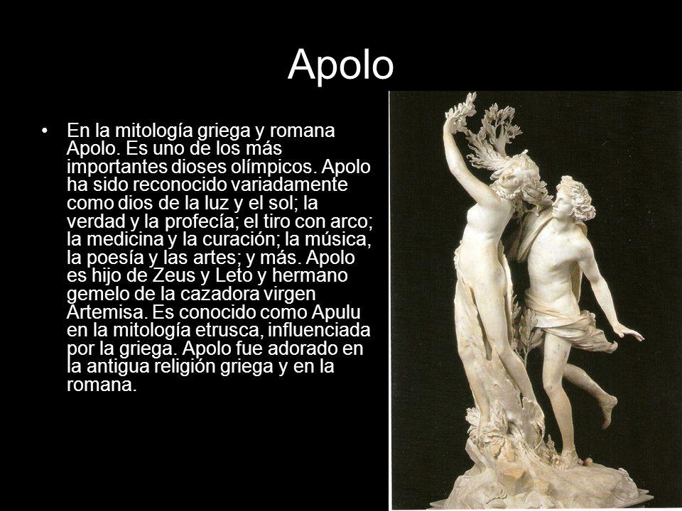 Apolo En la mitología griega y romana Apolo. Es uno de los más importantes dioses olímpicos. Apolo ha sido reconocido variadamente como dios de la luz