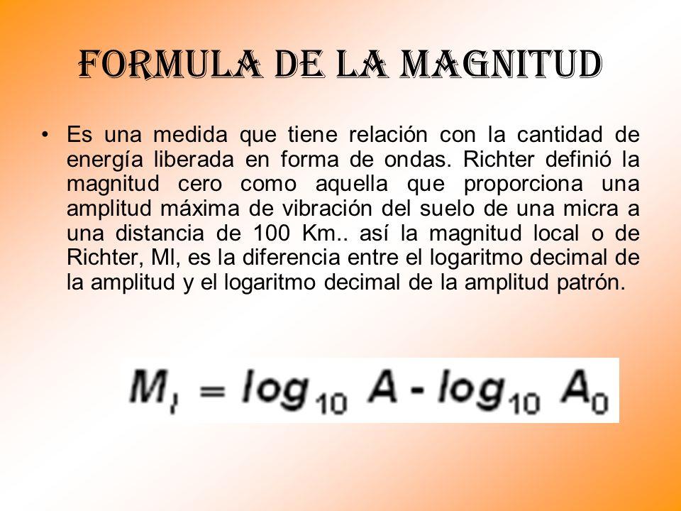 Formula de la magnitud Es una medida que tiene relación con la cantidad de energía liberada en forma de ondas. Richter definió la magnitud cero como a