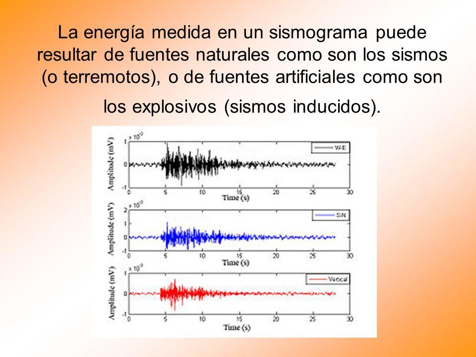La energía medida en un sismograma puede resultar de fuentes naturales como son los sismos (o terremotos), o de fuentes artificiales como son los expl
