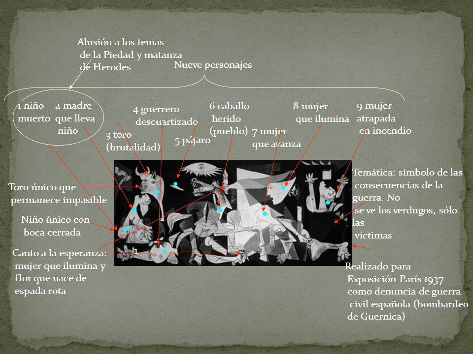Realizado para Exposición París 1937 como denuncia de guerra civil española (bombardeo de Guernica) Temática: símbolo de las consecuencias de la guerr