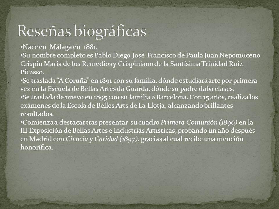 Nace en Málaga en 1881. Su nombre completo es Pablo Diego José Francisco de Paula Juan Nepomuceno Crispín María de los Remedios y Crispiniano de la Sa