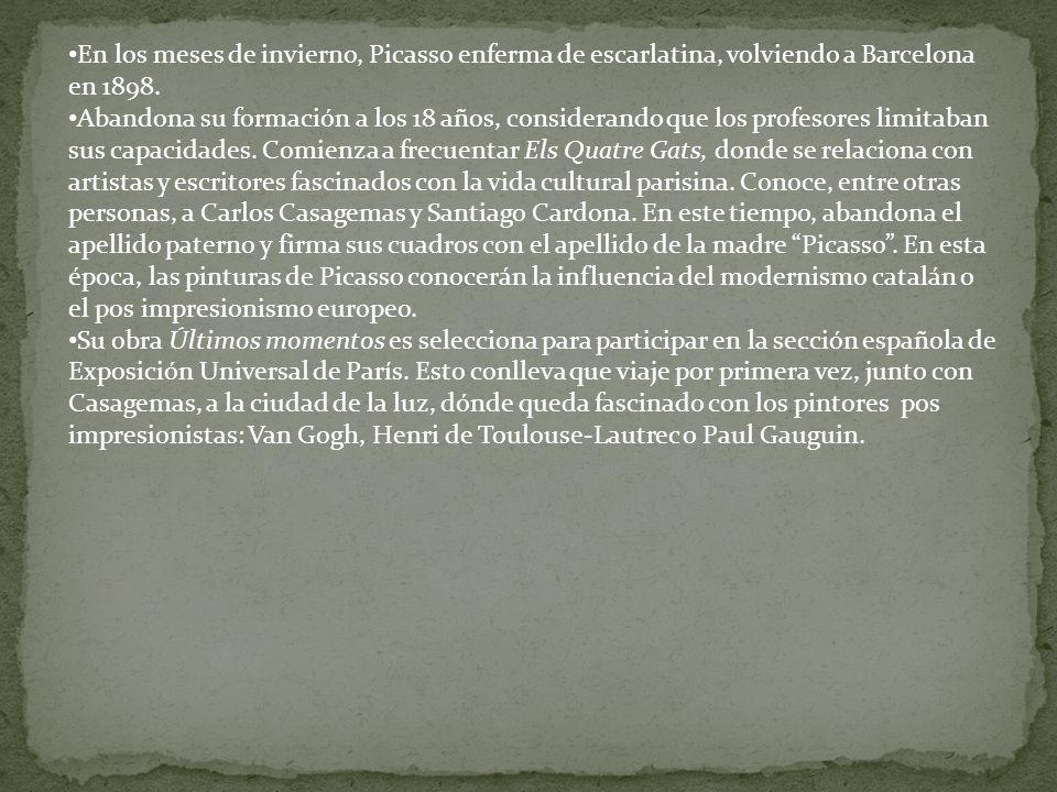 En los meses de invierno, Picasso enferma de escarlatina, volviendo a Barcelona en 1898. Abandona su formación a los 18 años, considerando que los pro