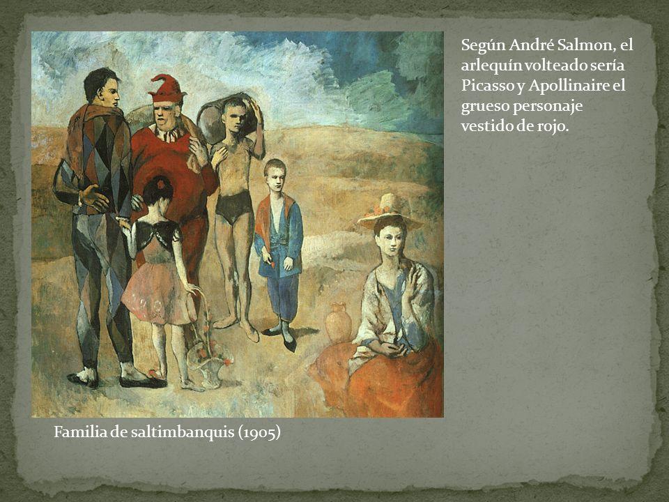 Familia de saltimbanquis (1905) Según André Salmon, el arlequín volteado sería Picasso y Apollinaire el grueso personaje vestido de rojo.