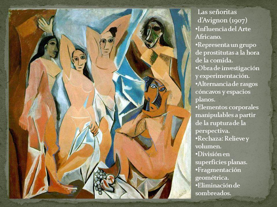 Influencia del Arte Africano. Representa un grupo de prostitutas a la hora de la comida. Obra de investigación y experimentación. Alternancia de rasgo