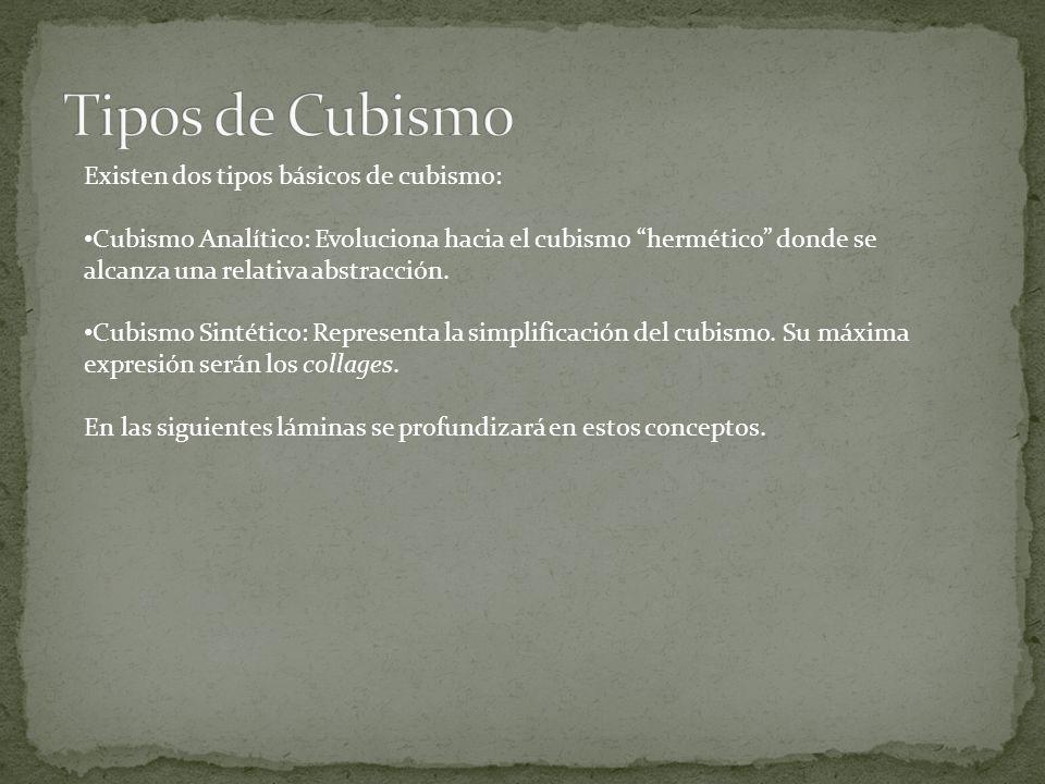 Existen dos tipos básicos de cubismo: Cubismo Analítico: Evoluciona hacia el cubismo hermético donde se alcanza una relativa abstracción. Cubismo Sint