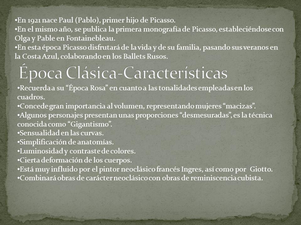 En 1921 nace Paul (Pablo), primer hijo de Picasso. En el mismo año, se publica la primera monografía de Picasso, estableciéndose con Olga y Pable en F