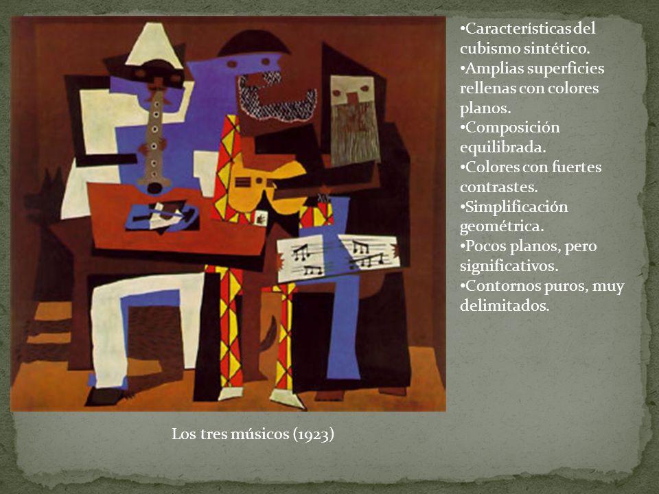 Características del cubismo sintético. Amplias superficies rellenas con colores planos. Composición equilibrada. Colores con fuertes contrastes. Simpl