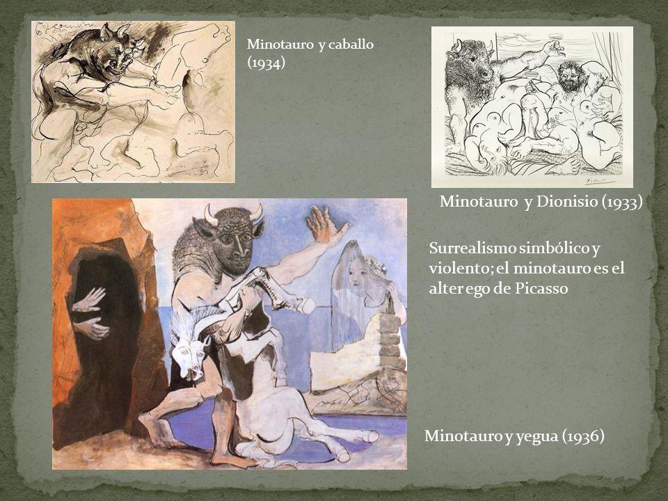 Minotauro y caballo (1934) Minotauro y Dionisio (1933) Minotauro y yegua (1936) Surrealismo simbólico y violento; el minotauro es el alter ego de Pica