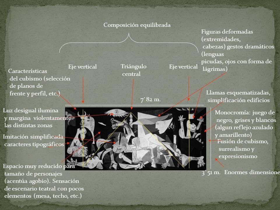 Composición equilibrada Eje vertical Triángulo central Fusión de cubismo, surrealismo y expresionismo Monocromía: juego de negro, grises y blancos (al