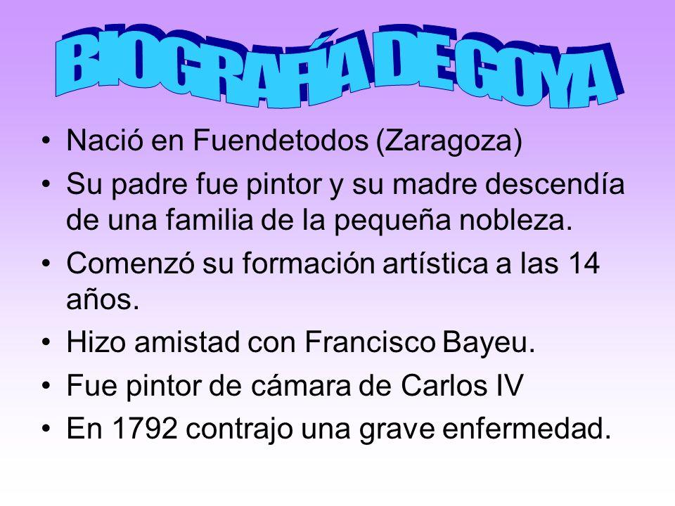 Nació en Fuendetodos (Zaragoza) Su padre fue pintor y su madre descendía de una familia de la pequeña nobleza. Comenzó su formación artística a las 14
