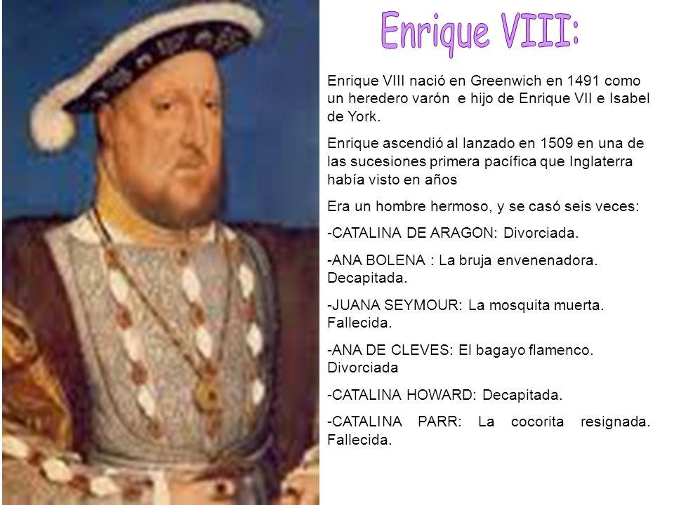 Enrique VIII nació en Greenwich en 1491 como un heredero varón e hijo de Enrique VII e Isabel de York. Enrique ascendió al lanzado en 1509 en una de l