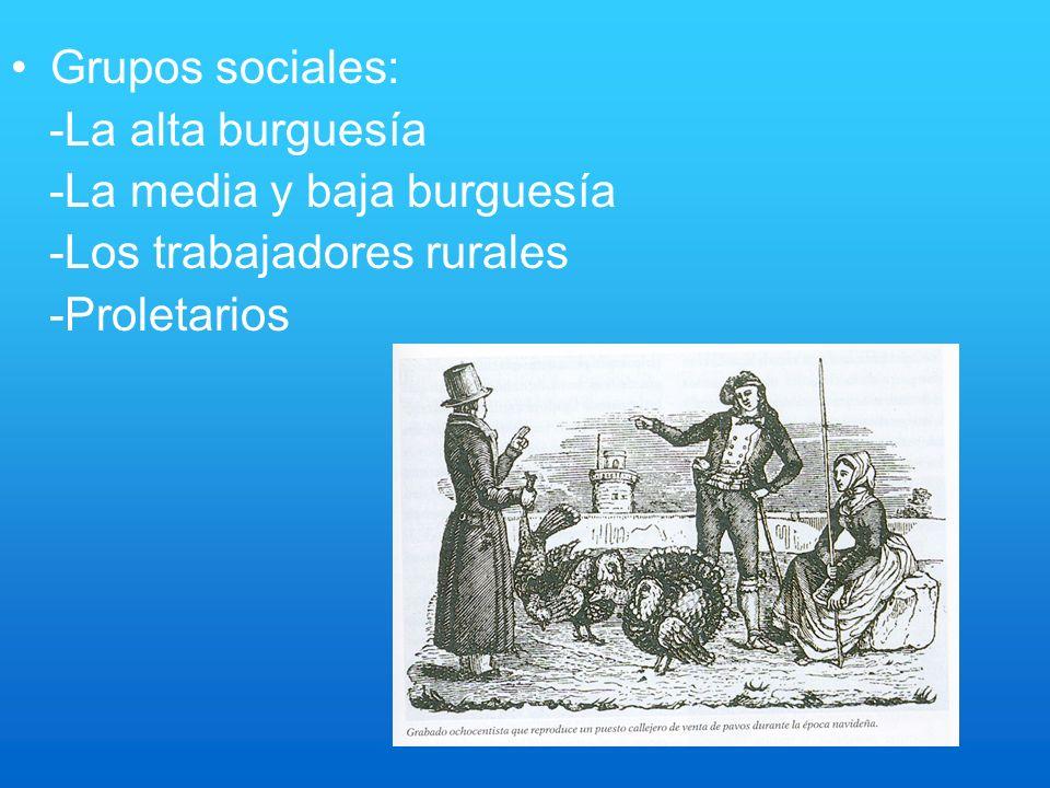 Grupos sociales: -La alta burguesía -La media y baja burguesía -Los trabajadores rurales -Proletarios