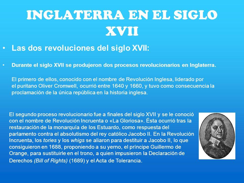 INGLATERRA EN EL SIGLO XVII Las dos revoluciones del siglo XVII: Durante el siglo XVII se produjeron dos procesos revolucionarios en Inglaterra. El pr