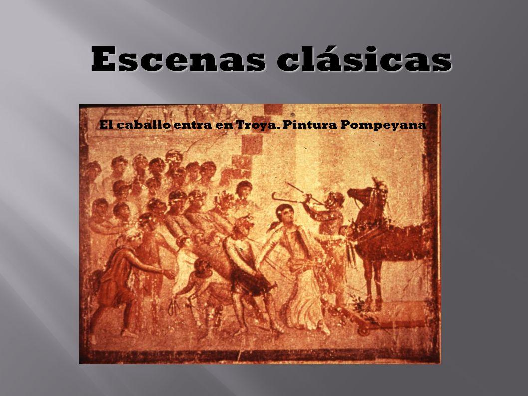 Escenas clásicas El caballo entra en Troya. Pintura Pompeyana