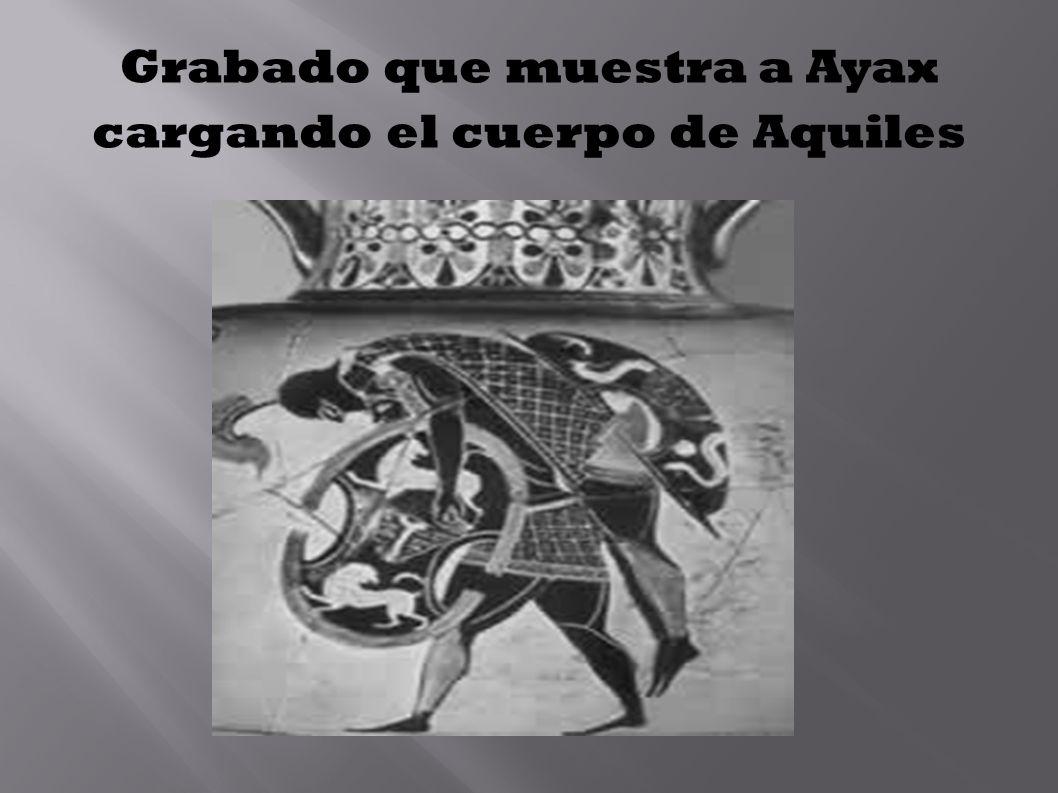 Grabado que muestra a Ayax cargando el cuerpo de Aquiles