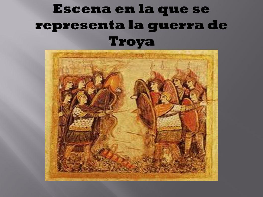 Escena en la que se representa la guerra de Troya