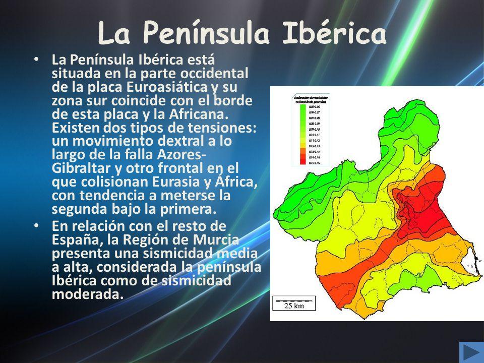 La Península Ibérica La Península Ibérica está situada en la parte occidental de la placa Euroasiática y su zona sur coincide con el borde de esta pla