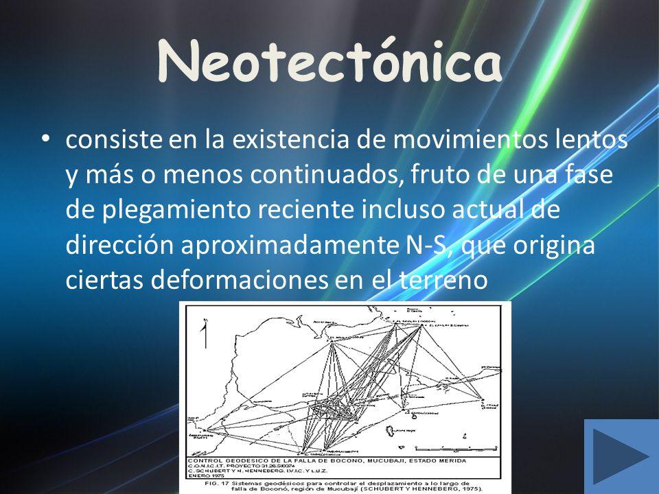 Neotectónica consiste en la existencia de movimientos lentos y más o menos continuados, fruto de una fase de plegamiento reciente incluso actual de di
