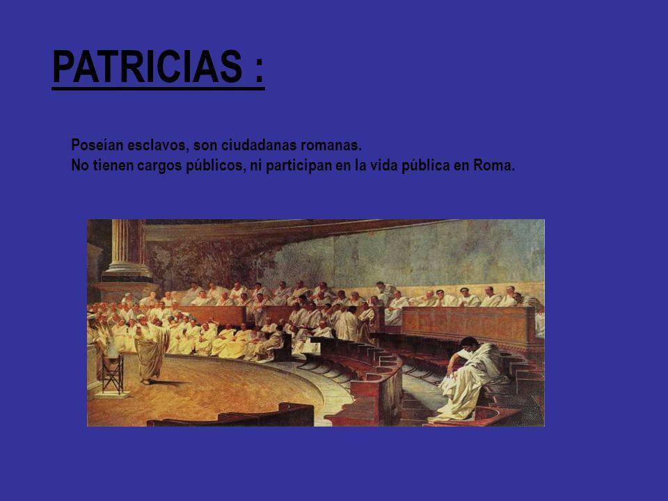 PATRICIAS : Poseían esclavos, son ciudadanas romanas. No tienen cargos públicos, ni participan en la vida pública en Roma.