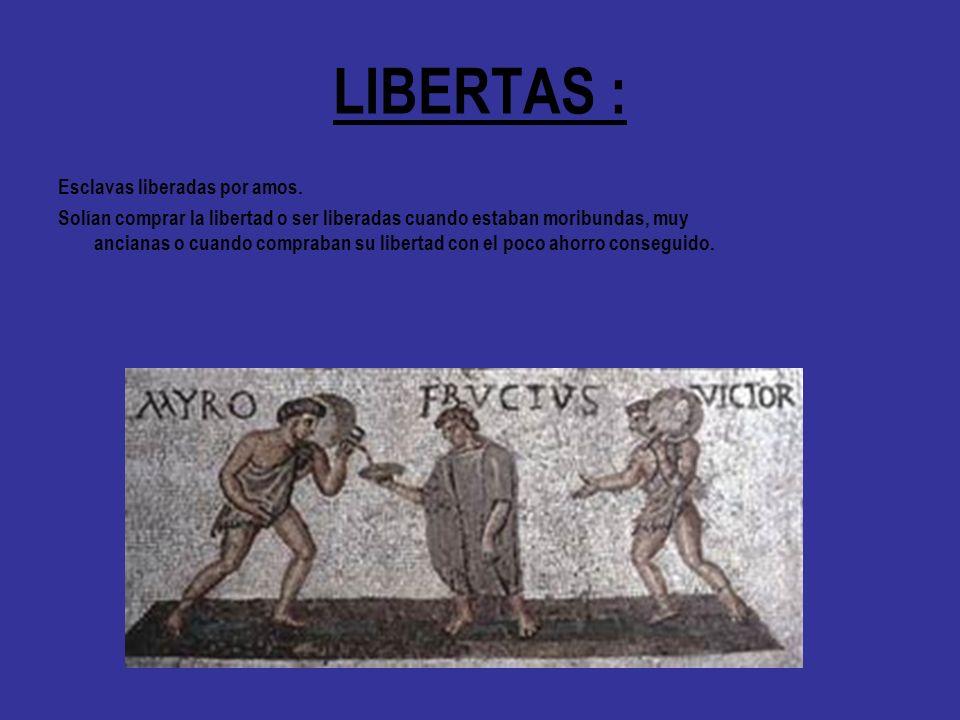 LIBERTAS : Esclavas liberadas por amos. Solían comprar la libertad o ser liberadas cuando estaban moribundas, muy ancianas o cuando compraban su liber