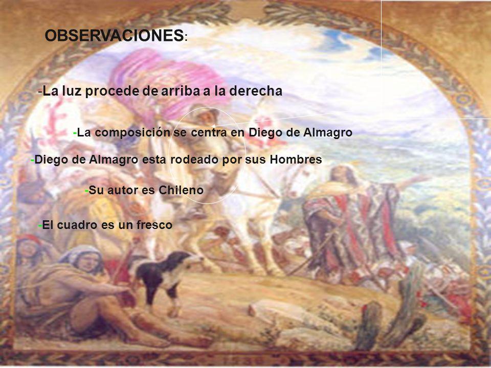 OBSERVACIONES : -La luz procede de arriba a la derecha -La composición se centra en Diego de Almagro -Diego de Almagro esta rodeado por sus Hombres -S