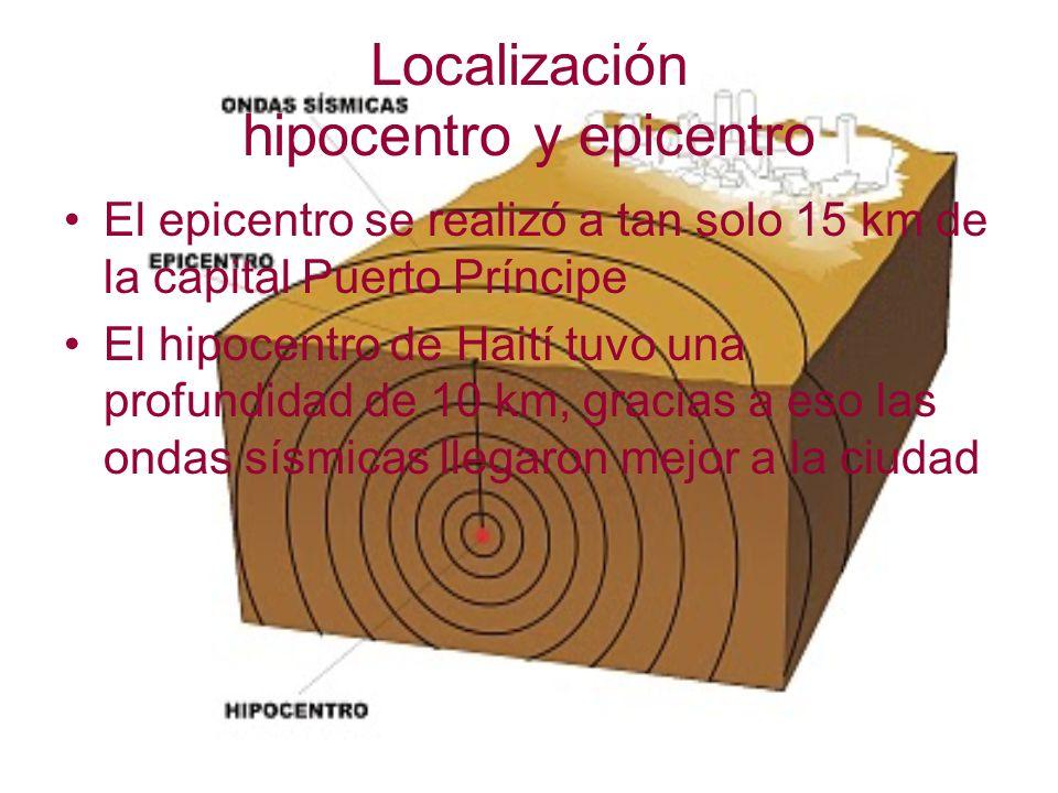 Localización hipocentro y epicentro El epicentro se realizó a tan solo 15 km de la capital Puerto Príncipe El hipocentro de Haití tuvo una profundidad