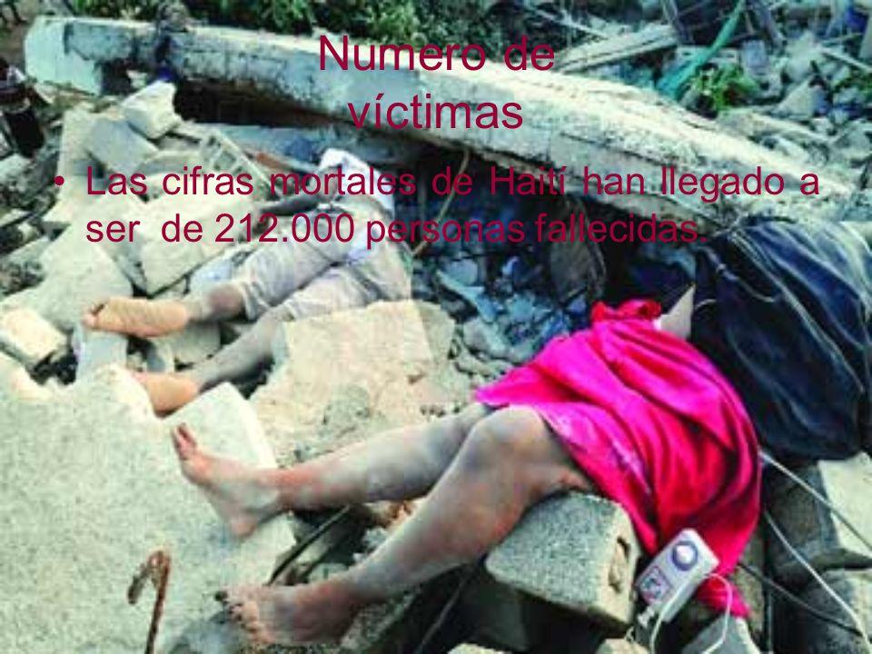 Numero de víctimas Las cifras mortales de Haití han llegado a ser de 212.000 personas fallecidas.