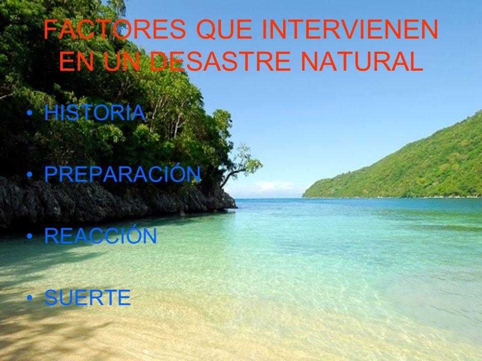 FACTORES QUE INTERVIENEN EN UN DESASTRE NATURAL HISTORIA PREPARACIÓN REACCIÓN SUERTE