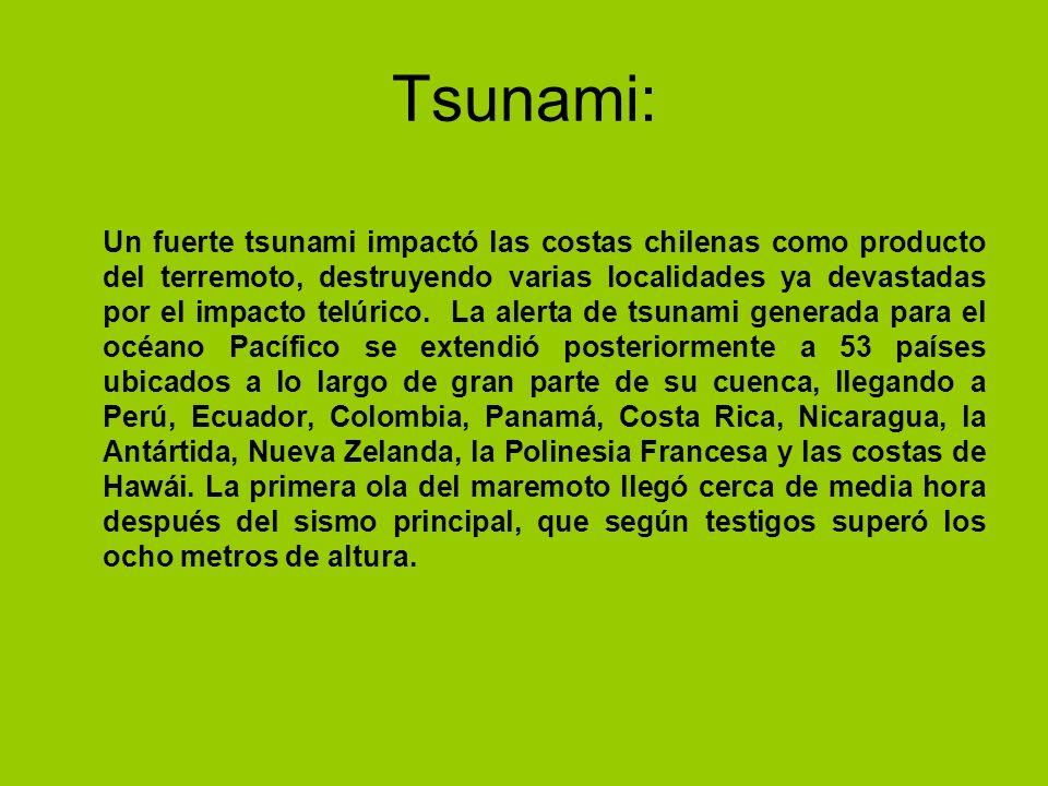Tsunami: Un fuerte tsunami impactó las costas chilenas como producto del terremoto, destruyendo varias localidades ya devastadas por el impacto telúri