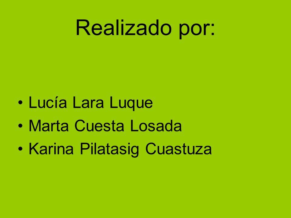 Realizado por: Lucía Lara Luque Marta Cuesta Losada Karina Pilatasig Cuastuza