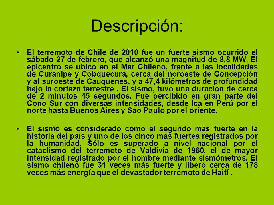 Descripción: El terremoto de Chile de 2010 fue un fuerte sismo ocurrido el sábado 27 de febrero, que alcanzó una magnitud de 8,8 MW. El epicentro se u