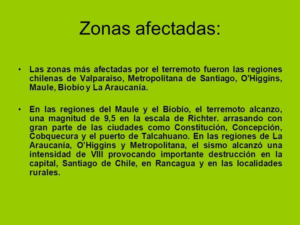 Zonas afectadas: Las zonas más afectadas por el terremoto fueron las regiones chilenas de Valparaíso, Metropolitana de Santiago, O'Higgins, Maule, Bio