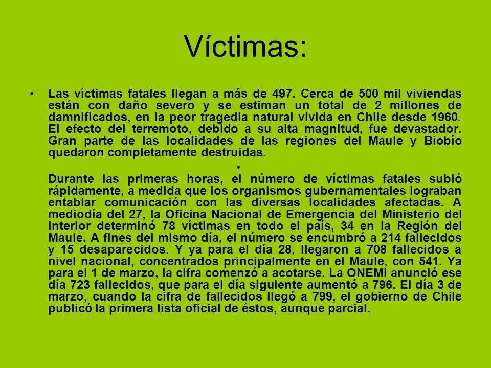 Víctimas: Las víctimas fatales llegan a más de 497. Cerca de 500 mil viviendas están con daño severo y se estiman un total de 2 millones de damnificad