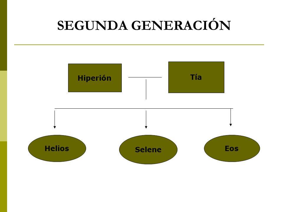 SEGUNDA GENERACIÓN Hiperión Tía Selene HeliosEos