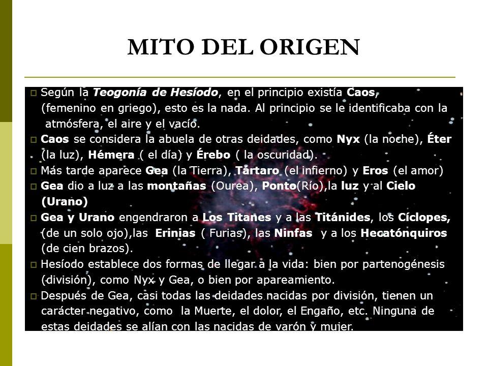MITO DEL ORIGEN Según la Teogonía de Hesíodo, en el principio existía Caos, (femenino en griego), esto es la nada. Al principio se le identificaba con