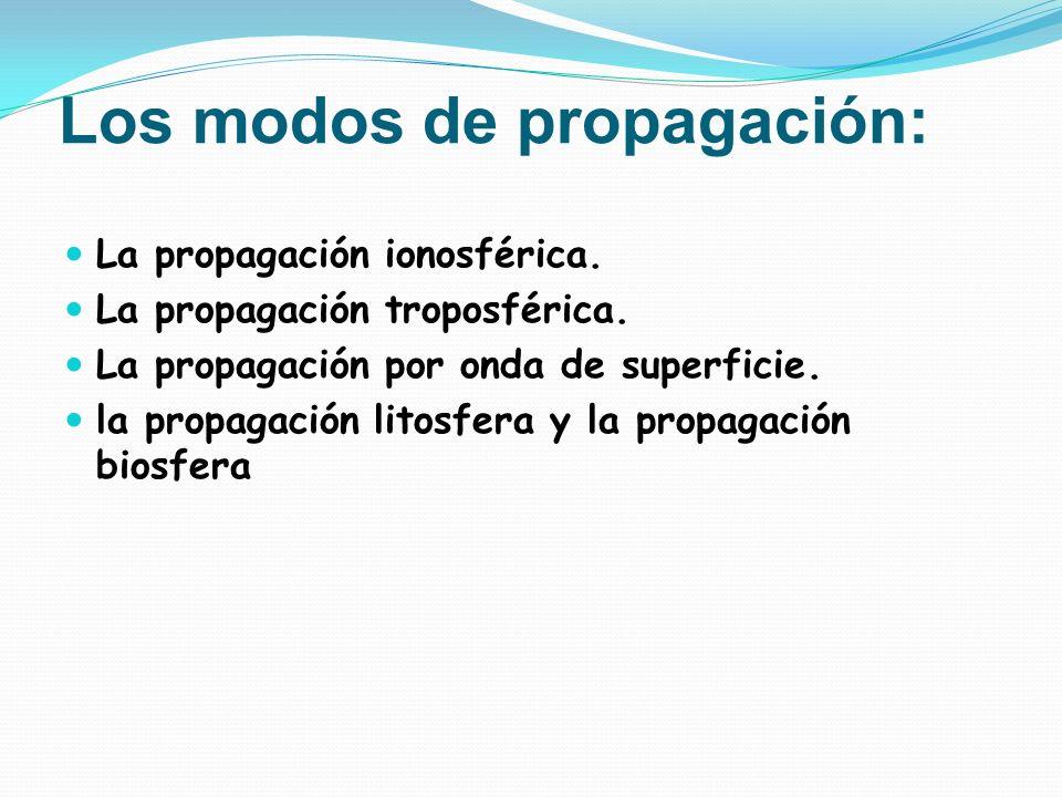 Los modos de propagación: La propagación ionosférica. La propagación troposférica. La propagación por onda de superficie. la propagación litosfera y l