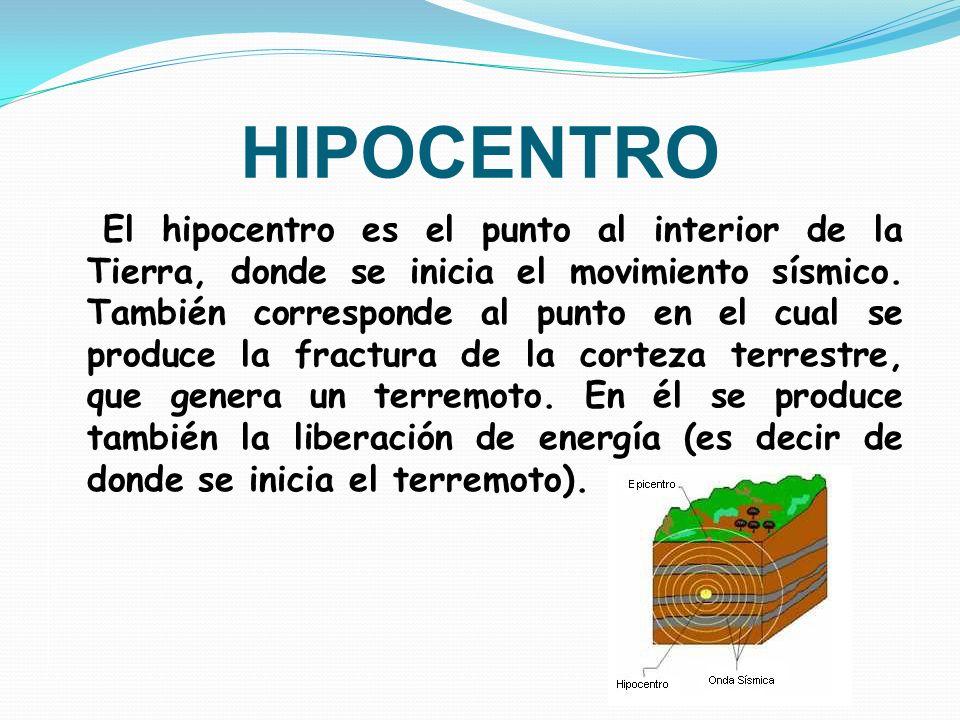 HIPOCENTRO El hipocentro es el punto al interior de la Tierra, donde se inicia el movimiento sísmico. También corresponde al punto en el cual se produ