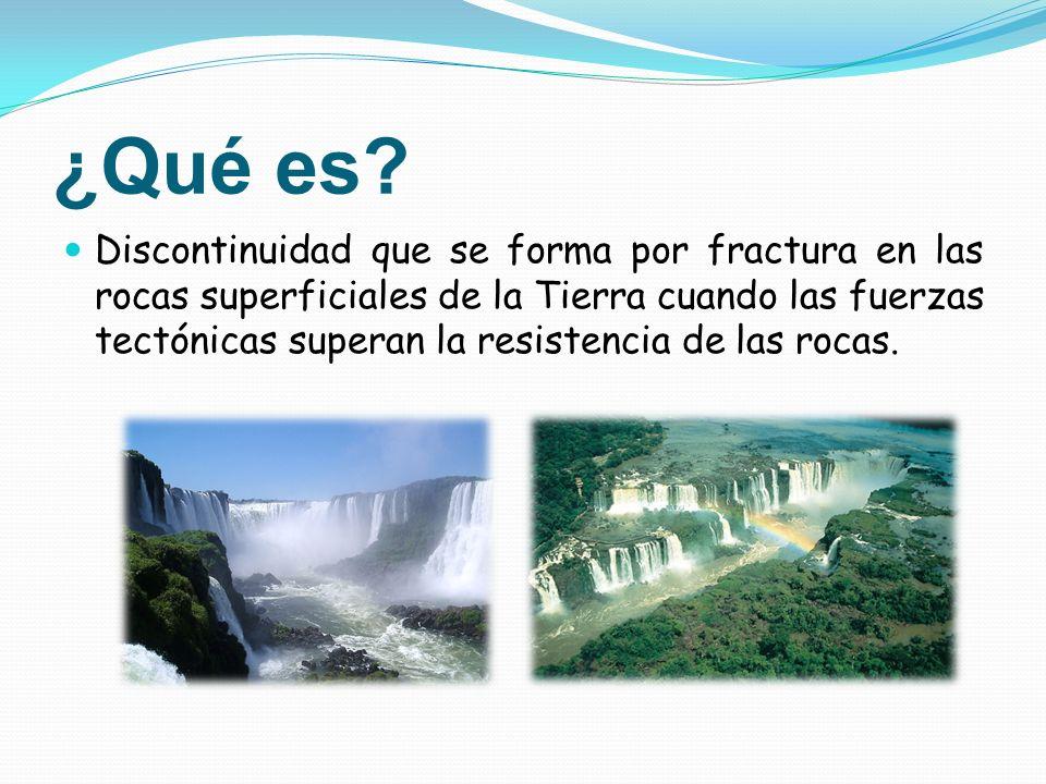 ¿Qué es? Discontinuidad que se forma por fractura en las rocas superficiales de la Tierra cuando las fuerzas tectónicas superan la resistencia de las
