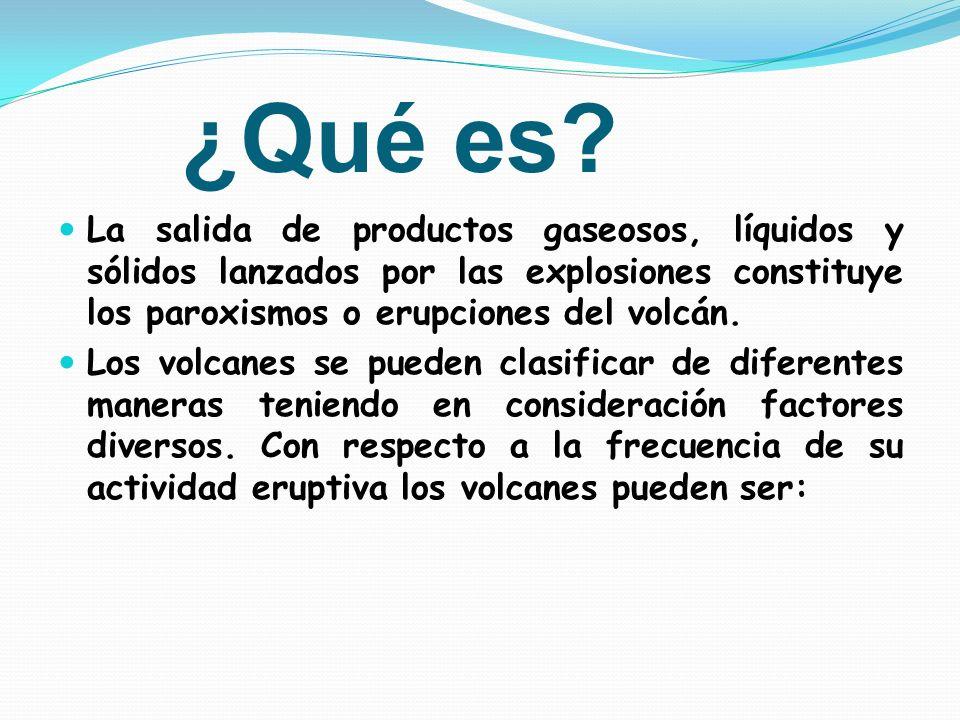 ¿Qué es? La salida de productos gaseosos, líquidos y sólidos lanzados por las explosiones constituye los paroxismos o erupciones del volcán. Los volca